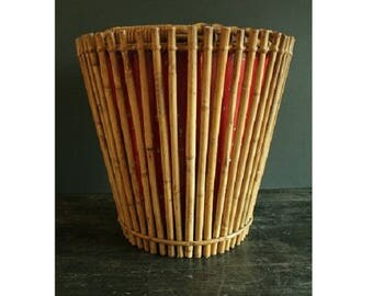 Vintage WWII Bamboo waste paper basket, South east Asia campaign.