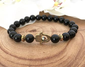 Black Onyx Gold Hamsa Protection Bracelet
