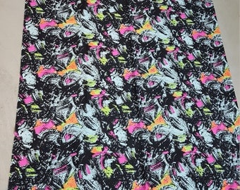 RARE Funky Vintage abstract paint stroke mint and neon color fabric! A MUST SEE!