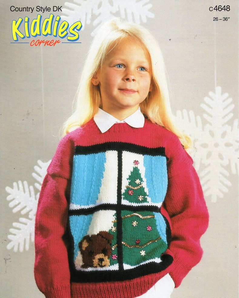 Knitting Patterns For Children s Christmas Jumpers : childrens Christmas jumper knitting pattern PDF Christmas tree