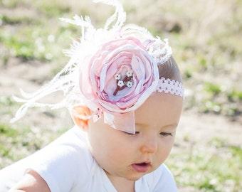 Baby Girl Headband- Baby Headbands- Pink Headband- Flower Headband- Flower girl Headband- Newborn Headband- Photo Prop- Cherry Blossom Pink