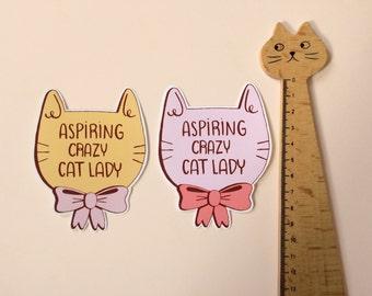 Aspiring crazy cat lady sticker   catlady   matte vinyl stickers
