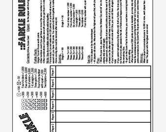 PDF 11x17 Farkle and Rules one page instant download - print your own
