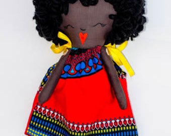 Handmade rag doll, black rag doll, kente print dress, african print dress, red, cloth doll, african american Doll, dress up doll, handmade