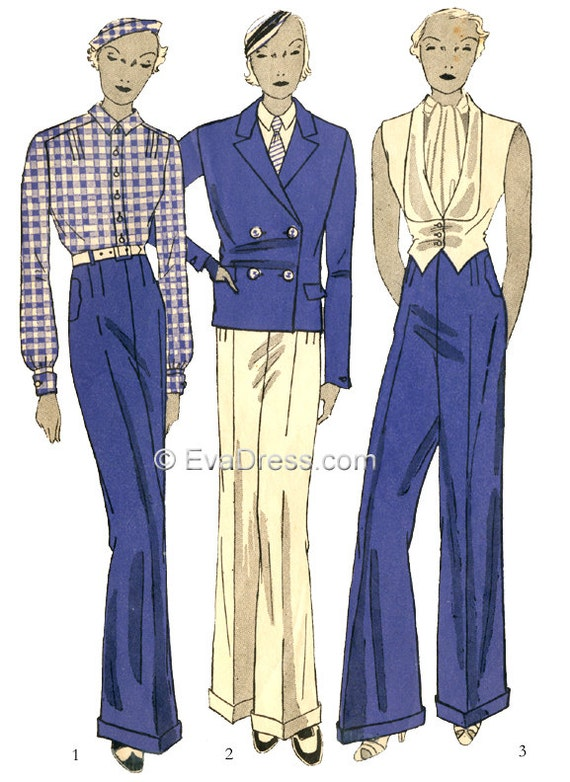 1930s Fashion Colors, Clothing & Fabric 1933 Ladies Four-piece Tuxedo Pattern by EvaDress  AT vintagedancer.com