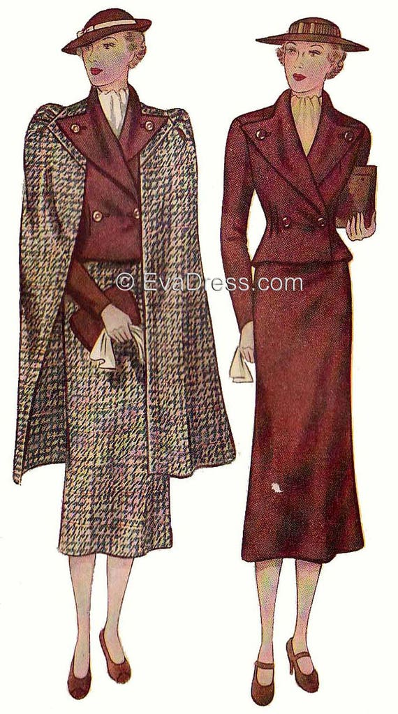 1930s Fashion Colors, Clothing & Fabric 1936 Three-Piece Ensemble by EvaDress!  AT vintagedancer.com