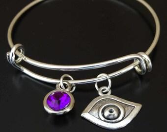 Evil Eye Bangle Bracelet, Adjustable Expandable Bangle Bracelet, Evil Eye Charm Bracelet, Evil Eye Pendant, Turkey evil eye, lucky eye charm