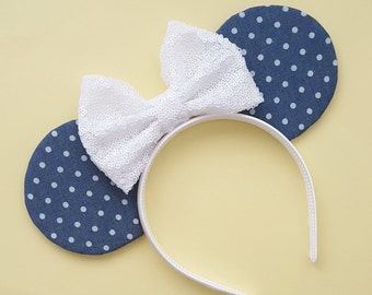 Denim Polkadot Mouse Ears