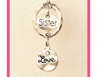 "Sister Love Necklace, Sisters, Family, Twins, Jewelry, Choice of 18"" 20"" 22"" 24"" Chain Length"