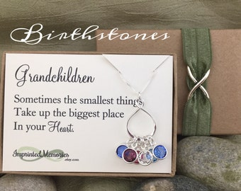 Gifts for Grandma Jewelry Grandma Necklace Gift from Grandchildren Jewelry Gift for Mom Sterling Silver Birthstone Necklace for Grandma 60th