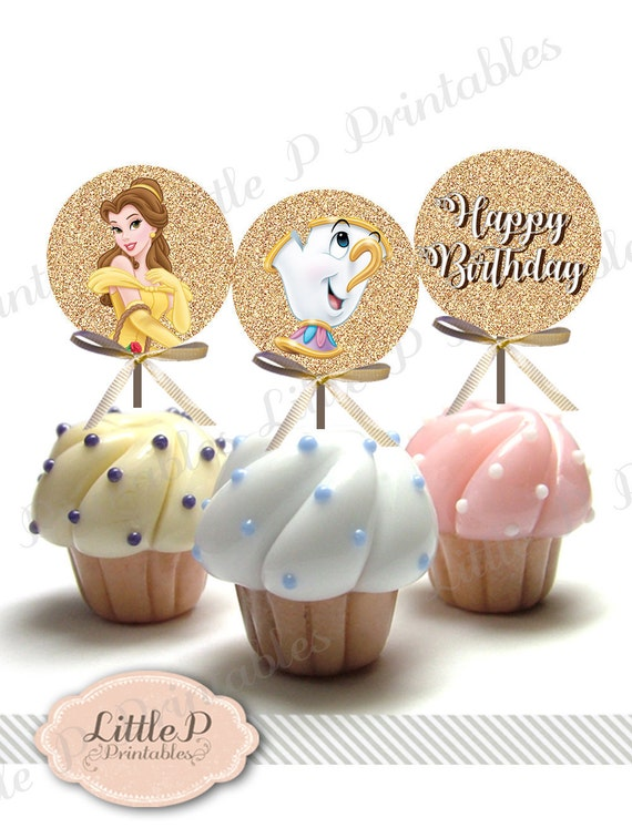 Belle Cupcake Topper Printable Beauty and the Beast Birthday