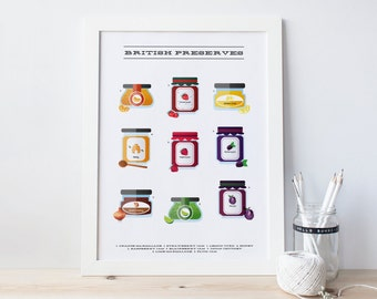 Preserves print - Kitchen print - Jam, Lemon Curd, Marmalade, Honey & Chutney