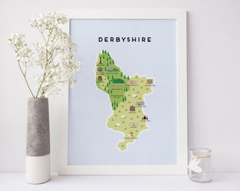 Derbyshire Map - Illustrated map of Derbyshire