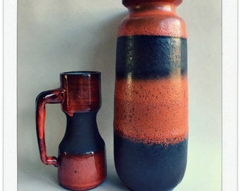 Vintage vases in red