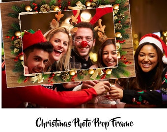 photo booth prop Christmas, Christmas photo booth prop, Christmas photo booth frame, Christmas party photo prop, Christmas selfie frame