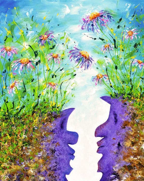 Original Painting Surrealist Landscape. Fantasy Art. Flower Artwork. Impasto Flowers and Faces. Surrealism. Visionary Art. Psychedelic Art.