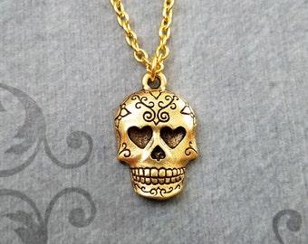 Sugar Skull Necklace SMALL Skull Jewelry Dia De Los Muertos Jewelry Day of the Dead Necklace Muertos Necklace Sugar Skull Charm Pendant Gift