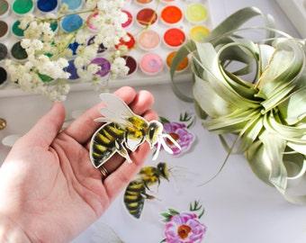 Vinyl Stickers, Bee stickers, Laptop stickers, Original art, Scrapbooking, Journaling, Die cut stickers, Spring, Honeybee, Bees