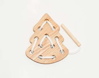 Wood lacing Christmas tree toy, Educational toy, Montessori toys, Organic toy, Toddler activity, Natural eco friendly, Learning sewing toys