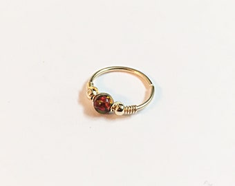 14K Solid Gold Tiny Hoop Nose Ring, tragus hoop ring gold cartilage earring, gold helix, helix hoop, helix cartilage earring, helix piercing