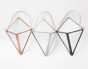 NEW Mini Diamond Hanger Terrarium // Clear Glass // Planter for Indoors