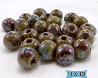 "Big Hole Ceramic Beads High Fired ""Mermaid's Garden""—10 Pcs | 2-10-8178-10"