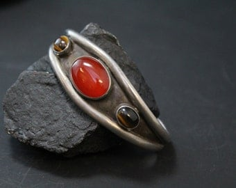 Vintage Sterling Silver Cuff Bracelet with Tiger's Eye and Carnelian Gemstones