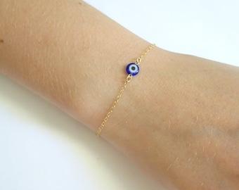 Evil eye bracelet, minimal evil eye bracelet, rose gold, Sterling silver Evil eye bracelet, protection bracelet, Dainty gold bracelet