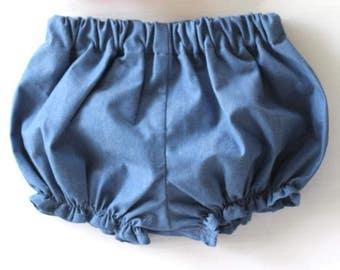 Chambray Denim, Baby Bloomers, Baby Girl Bloomers, Baby Girl Clothes, Baby Girl Clothing, Chambray Denim Baby Bloomers