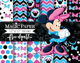Minnie Mouse Digital Paper Pink blue