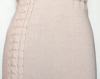 Knitted tight skirt, beige skirt, knitted wool skirt, light-beige skirt, ecru skirt, warm skirt, winter skirt, pencil skirt, office skirt
