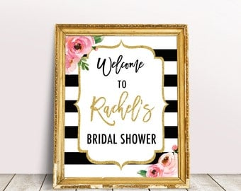 Kate Bridal Shower Welcome Sign, Spade Inspired Sign, Black and White Striped Welcome Sign, Floral Bridal Shower Sign, Engagement Decor