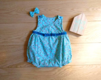 Blue romper for newborn, playsuit for baby 0-3 months, blue playsuit, playsuit for baby 1 month, baby romper 2 months, playsuit 3 months