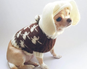 Chihuahua sweater Brown dog sweater Dog clothing Chihuahua clothes Small dog sweater Knit dog sweater Sweater for puppy Easter dog costume