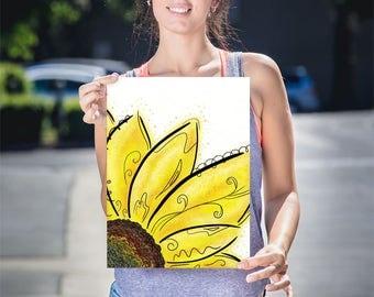Playroom Flower Art, Yellow Flower Art Print, Yellow Flower Wall Art, Sunflower Art Gift, Child's Sunflower Decor, Sunflower Wall Art