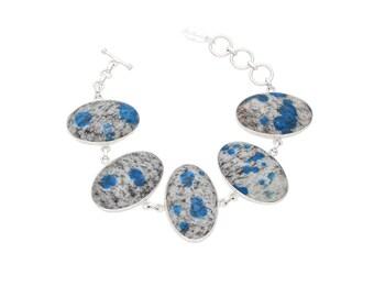 K2 bracelet, K2 stone, sterling silver, K2 jasper, blue bracelet, gemstone bracelet, statement bracelet, boho bracelet, k2 jasper jewelry