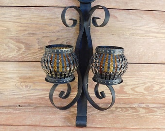Vintage Wrought Iron Wall Sconce, Farmhouse Chic, Spanish Iron Wall Votive Cup