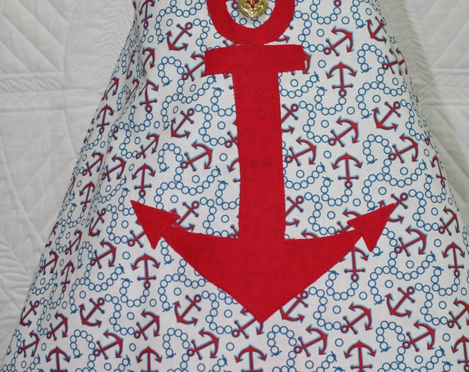 Sailor dress, Toddler girl Nautical sun dress,Anchor applique beach dress,baby girl beach dress, girl A line sun dress, Red, white and blue