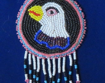 "EAGLE Head Pendant Necklace, Authentic Bead & Leather FIRST NATIONS Indian 16"" Long (#404)"