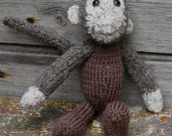 Mr Joey Bananas, monkey toy, knitted toy, knitted monkey, ape