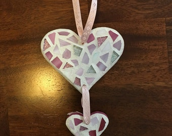 Stained Glass Mosaic Heart Ornament, Heart Decor, Stained Glass Suncatcher, Heart Decor, Wedding, Anniversary, Love, Christmas Ornament