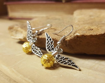Free Shipping - Golden Snitch Harry Potter Earrings with Regular Hooks, Sterling Silver Option, or Clip On Option