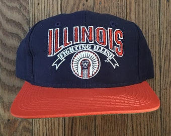 Vintage 90s The Game Illinois Fighting Illini NCAA Snapback Hat Baseball Cap