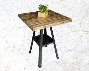 COUNTER HEIGHT TABLE - Industrial Reclaimed Stacked Wood w/ Lower Shelf