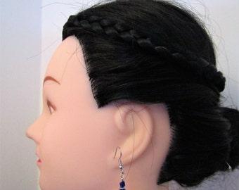 Japanese Fan Earrings with Blue Crystals, Sensu Earrings, Japanese Earrings, Oriental Earrings, Dangle Earrings, Gift for Her, Boho Earrings