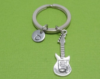 Guitar Keychain, Electric Guitar, Music, Band, Guitarist, Guitar player, Musician, Performer, Music Lover, Song, Personalized, Gift Idea