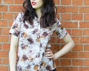 Vintage 70's Shirt in a Brown Abstract Print 1970's Vintage Top Retro 70's Top  Ladies Vintage Shirt  Women's Clothing
