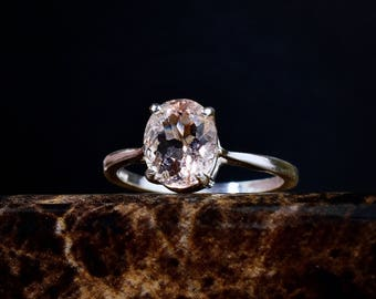 Genuine Morganite Ring, Morganite Engagement Ring, Peach Pink Morganite, Oval Solitaire, Unique Engagement, Silver Morganite, Natural Ring