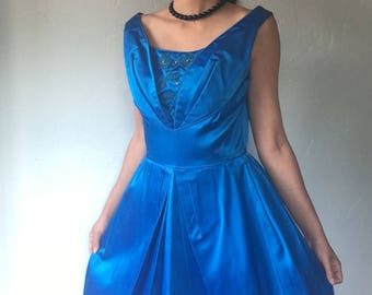 1950s Vintage Blue Satin Party Dress Size Small