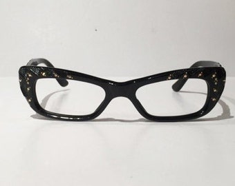 Vintage 1950s 60s Black Cateye Glasses Frames, New Old Stock, Cat Eyes Rhinestones & Gold Accents on Frames and Arms, NOS, Rockabilly Pin Up